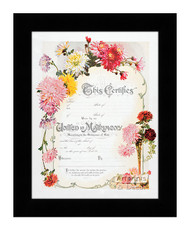 Chrysanthemum Marriage Certificate - Framed Art Print
