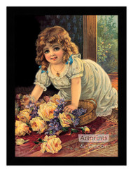 Girl With Yellow Roses - Framed Art Print