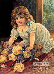 Girl With Yellow Roses - Art Print