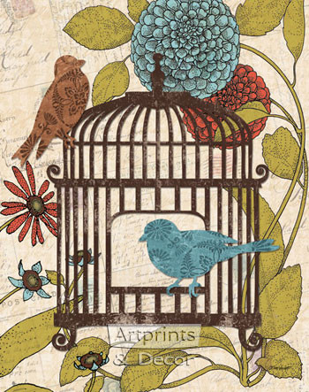 Birds & Blooms IV by Todd Williams - Art Print