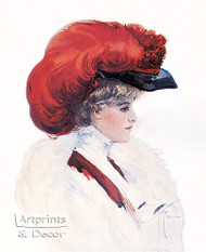 Lady with Red Plumed Hat by Harrison Fisher – Art Print