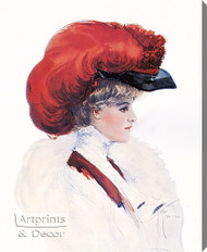 Lady with Red Plumed Hat by Harrison Fisher – Stretched Canvas Art Print