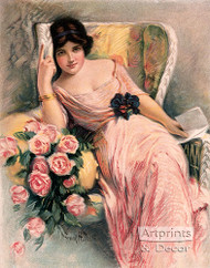 Pink Roses with a Letter by Frank H. Desch - Art Print