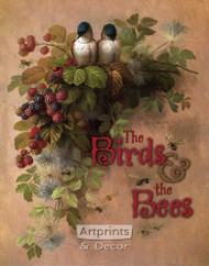 Birds, Bees & Berries by Paul De Longpre - Art Print