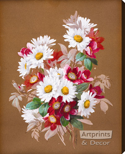 A Bouquet of Daisies by Raoul de Longpre - Stretched Canvas Art Print