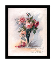 Pink Roses in A Vase - Framed Art Print