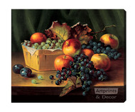 Grapes and Apples In A Basket - Stretched Canvas Print