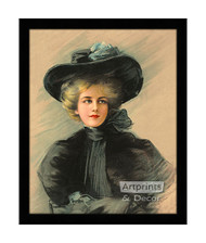 Woman in Black - Framed Art Print