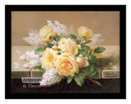 Yellow Roses with Lilacs - Framed Art Print