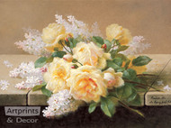Yellow Roses with Lilacs - Art Print