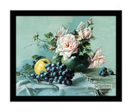 Pink Roses, Grapes & Apple - Framed Art Print