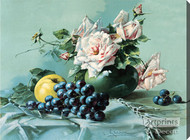 Pink Roses, Grapes & Apple - Stretched Canvas Print