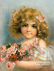 Little Girl with Pink Roses - Art Print