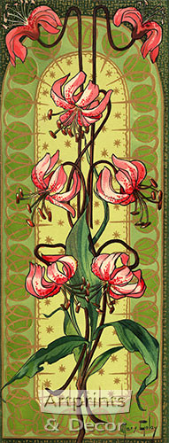 Stylized Pink Tiger Lilies - Framed Art Print
