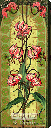 Stylized Pink Tiger Lilies - Stretched Canvas Print