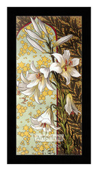 Stylized White Lilies - Framed Art Print