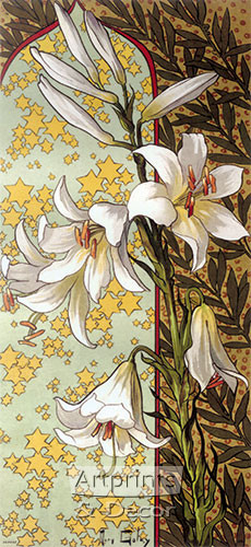Stylized White Lillies - Art Print