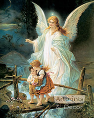 Guardian Angel by Lindberg Heilige Schutzengel - Art Print