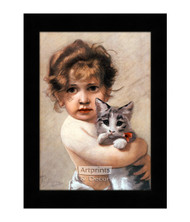 Little Girl Holding Kitty - Framed Art Print