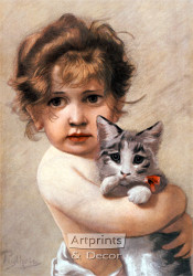 Little Girl Holding Kitty by Piglhein - Art Print