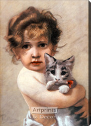 Little Girl Holding Kitty by Piglhein - Stretched Canvas Art Print