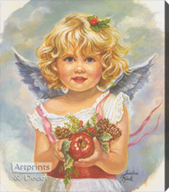 Christmas Angel holding Apple by Sandra Kuck - Stretched Canvas Art Print