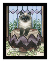 Cat in a Basket - Framed Art Print