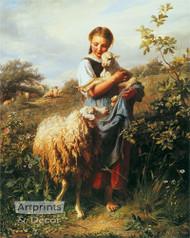 The Shepherdess by Johann Baptist Hofner -  Art Print