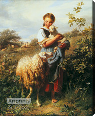The Shepherdess by Johann Baptist Hofner -  Stretched Canvas Art Print