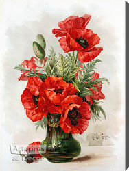 Poppies by Paul de Longpre - Stretched Canvas Art Print