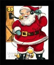 Santa on the Telephone - Framed Art Print
