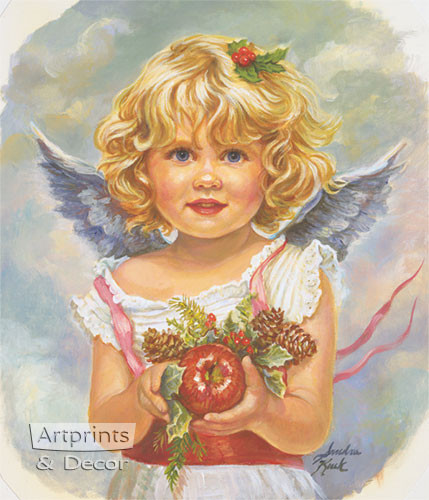 Christmas Angel holding Apple by Sandra Kuck - Framed Art Print