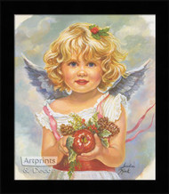 Christmas Angel holding Apple - Framed Art Print