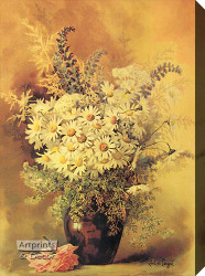 Daisies by Paul de Longpre - Stretched Canvas Art Print