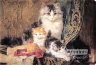 Cat and Her Three Kittens by Henriette Ronner-Knip - Stretched Canvas Art Print