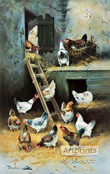 Chickens at Home by Remlure - Art Print