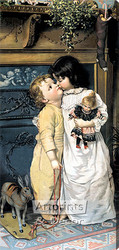 Under the Mistletoe by Maurice Ingre - Stretched Canvas Art Print