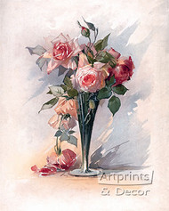 Pink Roses in A Vase - Art Print