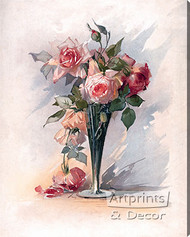Pink Roses in A Vase - Stretched Canvas Art Print