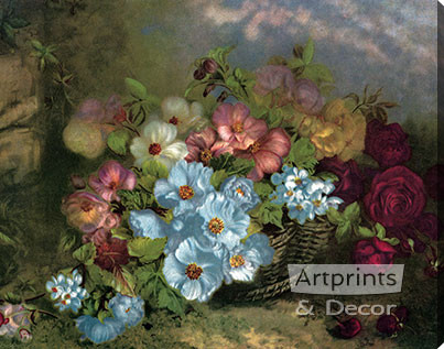 A Basket Full of Flowers - Stretched Canvas Art Print