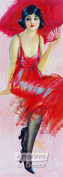Red Feathered Fan by Hamilton King - Art Print