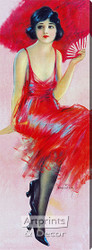 Red Feathered Fan by Hamilton King - Stretched Canvas Art Print