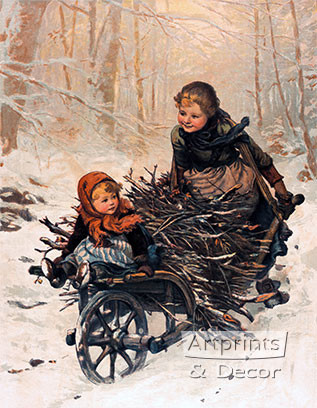 Bringing Home the Christmas Firewood by E. Blume Siebert - Art Print