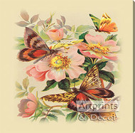 Butterflies & Wild Roses - Stretched Canvas Art Print
