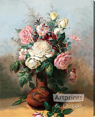 Bouquet of Roses by C. Chabelilz - Stretched Canvas Art Print