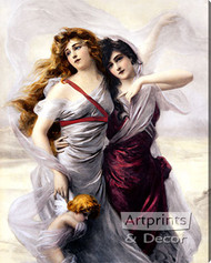 Enchanted Maidens by Edouard Bission - Stretched Canvas Art Print