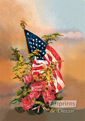 America's Flag & Flowers from Gallery Graphics - Art Print
