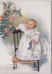 The First Christmas by Maud Humphrey -  Stretched Canvas Art Print