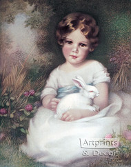 Girl and Rabbit by Annie Benson Müller - Art Print