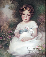 Girl and Rabbit by Annie Benson Müller - Stretched Canvas Art Print